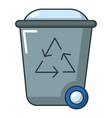 trash bin icon cartoon style vector image vector image