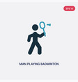 two color man playing badminton icon from sports vector image vector image
