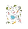 vegetables shape set in line vector image vector image