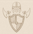 viking warrior set - shield swords and helmet vector image vector image