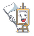 with flag easel mascot cartoon style vector image