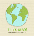 world environment card green earth globe vector image vector image