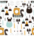 childish seamless pattern with vikings trendy vector image