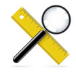 magnifying glass and ruler on white background vector image