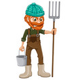 a farmer with pitchfork vector image vector image