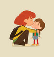 a mother gives a goodbye kiss to vector image vector image