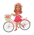 African American Girl with Bicycle vector image vector image
