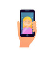 blonde girl use face recognition system security vector image vector image