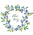 Blueberry frame with leaves - graphic vector image