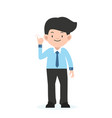 businessman standing with little finger vector image vector image