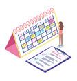 calendar schedule isometric concept web vector image