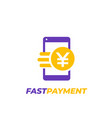 chinese yuan payment fast money transfer icon vector image