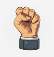 clenched fist held high in protest retro style vector image