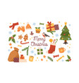 collection new year and christmas attributes vector image vector image