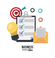 colorful poster with business idea icons set vector image