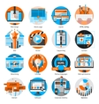 Creative Online Work Round Icons Set vector image vector image