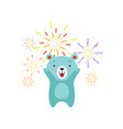 cute bear celebrating with fireworks lovely vector image vector image