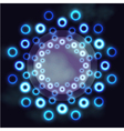 Dark futuristic round frame with blue neon rings vector image vector image