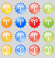 Decorative Zodiac Aries icon sign Big set of 16 vector image vector image
