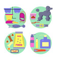 Dog shop icons set