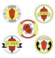 doner kebab badge set vector image vector image