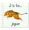Flashcard letter J is for jaguar vector image vector image