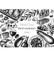 french food and drinks frame design engraved vector image vector image