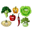 Fresh healthy cartoon vegetables characters vector image vector image