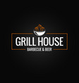 grill logo border bbq and grill fire on black vector image vector image