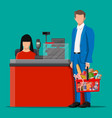 groceries in checkout counter vector image