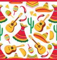 guitar maracas poncho cactus chili sombrero vector image