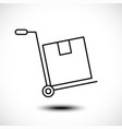 hand truck line icon vector image vector image