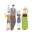 happy cheerful family man woman and two kids vector image