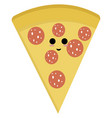 happy slice pizza on white background vector image vector image