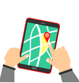 human hand holding tablet with map vector image