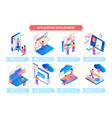 isometric application development infographics vector image vector image