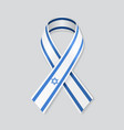 israeli flag stripe ribbon on white background vector image