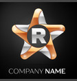 letter r logo symbol in the colorful star on black vector image vector image