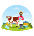 man near cow with bottles and cans milk vector image vector image
