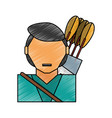 man with bow arrows vector image vector image