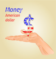 Money- The US dollar on palm vector image