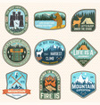 mountain expedition and outdoor adventure badges vector image vector image