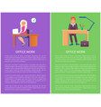 office work posters set business people man woman vector image vector image