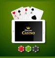 Online casino design poster banner Tablet with vector image vector image