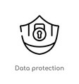 outline data protection icon isolated black vector image vector image