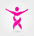 pink woman ribbon heart logo vector image