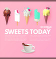 realistic 3d ice cream set with coffee cup fruit vector image vector image