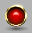 red shiny circle blank button with gold metallic vector image vector image