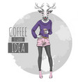 retro hipster fashion animal deer with coffee vector image vector image