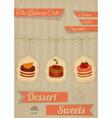 retro menu for cafe pastry shop vector image vector image